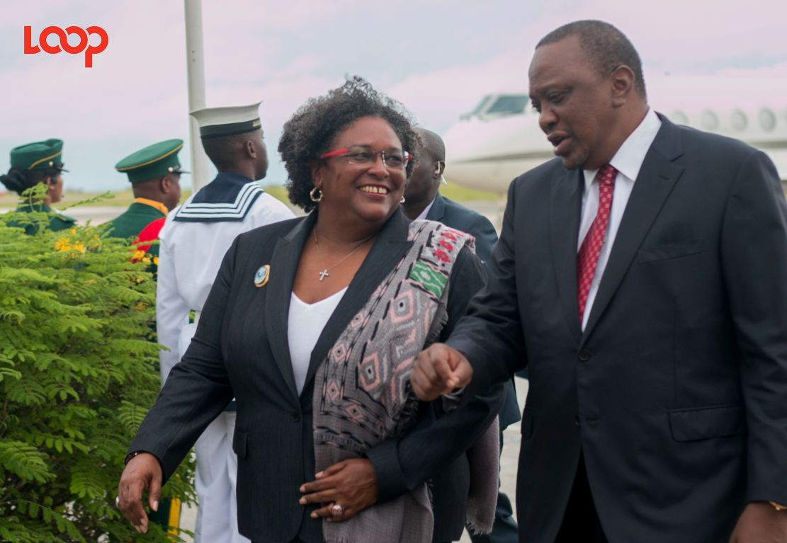 Prime Minister of Barbados Mia Mottley and President Uhuru Kenyatta have a tête-à-tête.