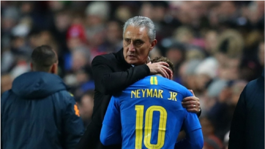 Tite with Brazil's star forward Neymar.