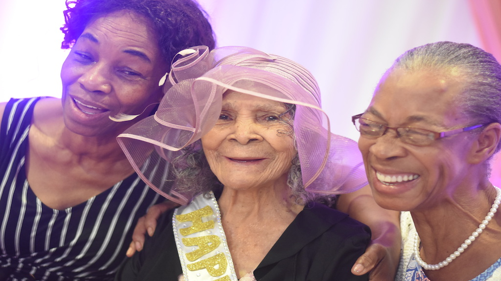Centenarian Evelyn Stanley (centre) in the company of two of her daughters, Zelpha (left) and Dorothy, at her birthday celebration at the Knutsford Court Hotel in St Andrew on Friday. (Photos: Marlon Reid)