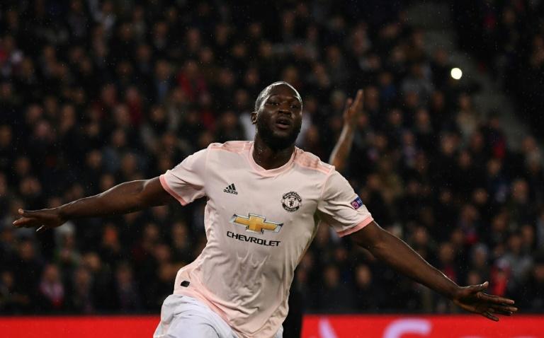 L'attaquant belge de Manchester United Romelu Lukaku buteur contre le PSG en 8es de finale de la Ligue des champions, le 6 mars 2019 au Parc des Princes