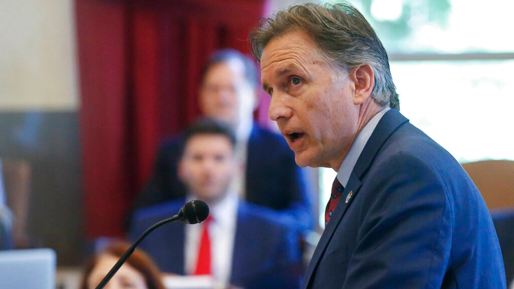 FILE - In this July 15, 2019, file photo, Oklahoma Attorney General Mike Hunter speaks during closing arguments in Oklahoma's ongoing opioid drug lawsuit against Johnson & Johnson, in Norman, Okla.(Photo/Sue Ogrocki, File)