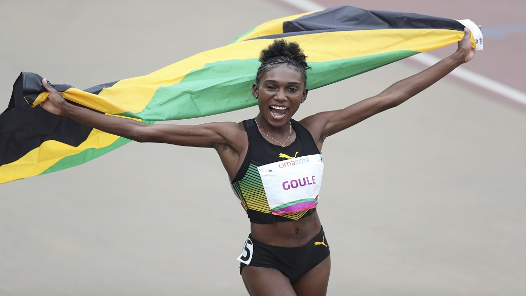 Natoya Goule of Jamaica celebrates winning the gold medal in the women's 800m during the athletics at the Pan American Games in Lima, Peru, Wednesday, Aug. 7, 2019.