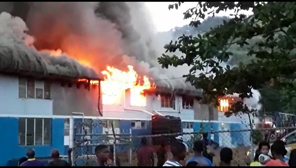 The Jamaica National Children's Home at Papine, St Andrew on fire on Friday afternoon.