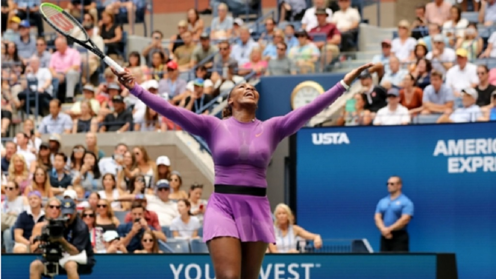 Serena Williams celebrates during her match against Karolina Muchova.