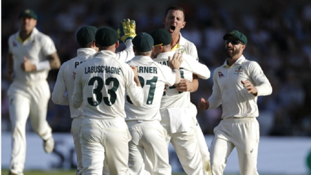 Josh Hazlewood celebrates dismissing Joe Denly.