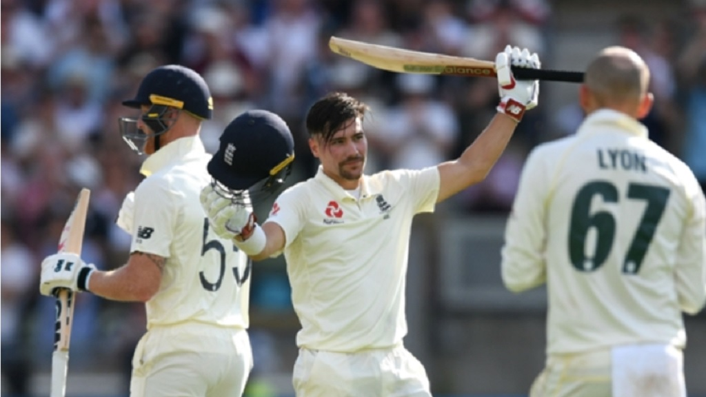 Rory Burns celebrates his hundred in the first Ashes Test against Australia.