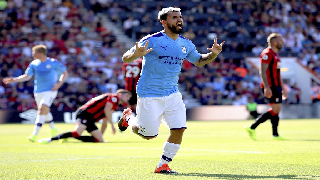 Manchester City's Sergio Aguero celebrates scoring his side's third goal of the game during the English Premier League match between Bournemouth and Manchester City at the Vitality Stadium, Bournemouth, England, Sunday Aug. 25, 2019. (Adam Davy/PA via AP)
