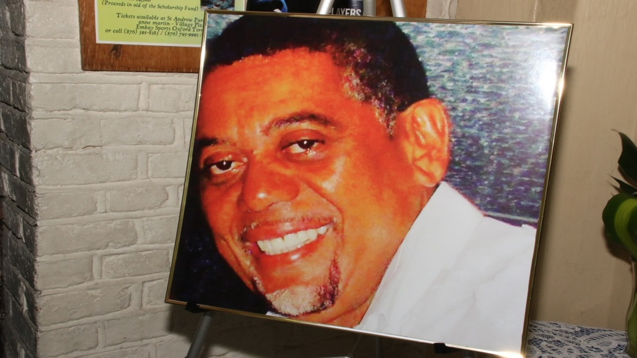 A photo of the late Laurie Broderick on display at the thanksgiving service for his life, in St Andrew on Saturday.