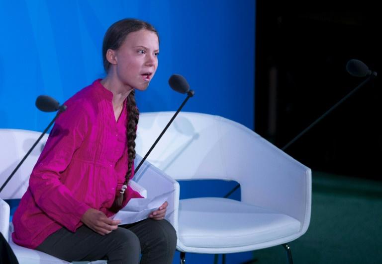 Greta Thunberg s'exprime à la tribune de l'ONU le 23 septembre 2019 à New York