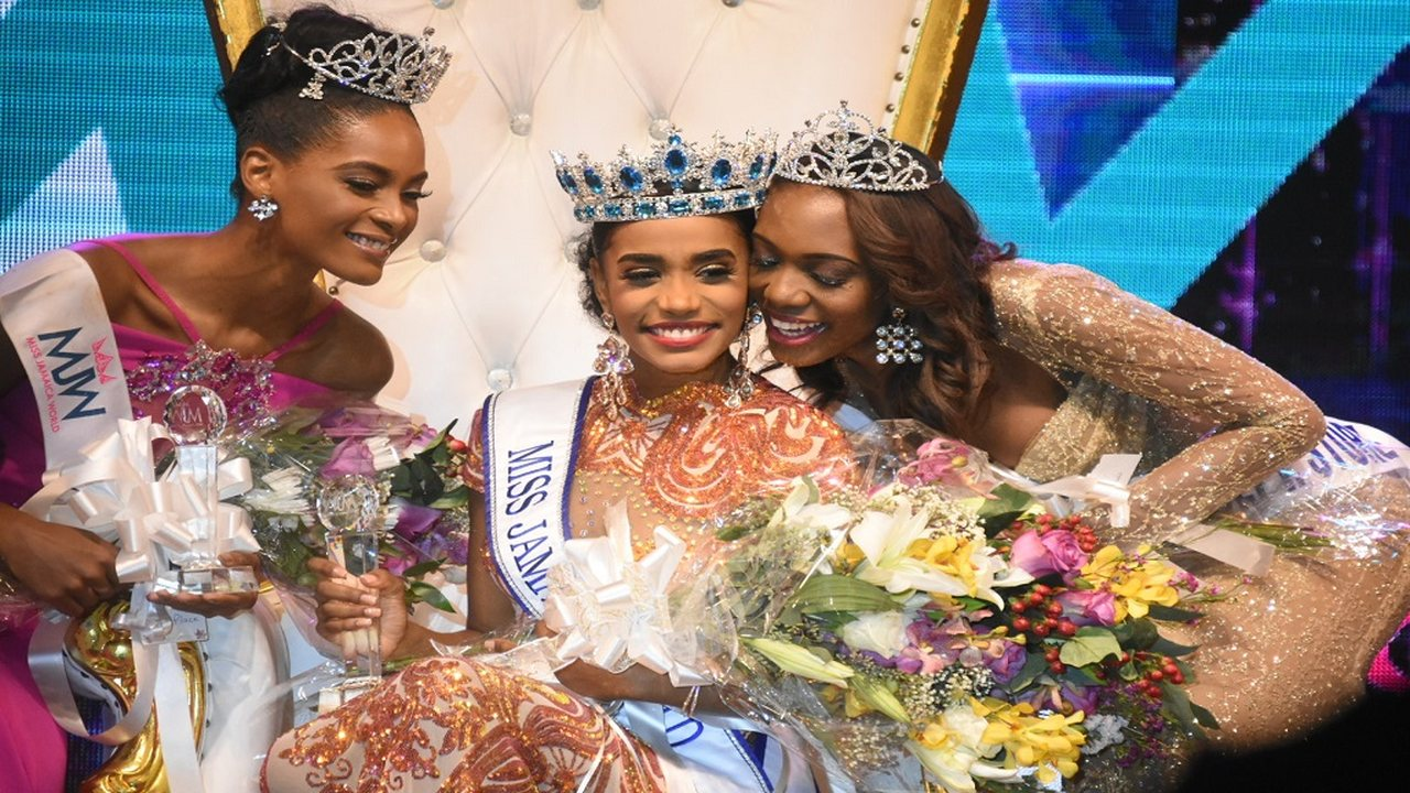 Miss Jamaica World 2019, Toni-Ann Singh (centre), in a happy mood alongside  first runner-up, Roshelle McKinley (left), and second runner-up, Alanna Wanliss, at the coronation on Saturday night.