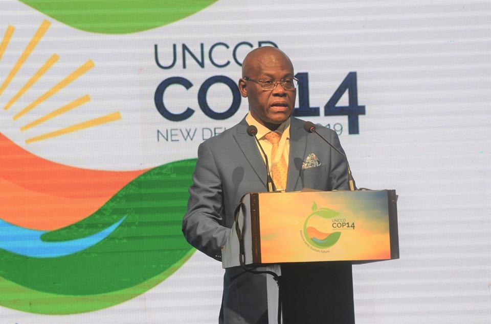Joseph Jouthe, ministre haïtien de l'Environnement participant à la COP 14 en Inde, à New-Delhi./Photo: Compte Facebook du MDE.