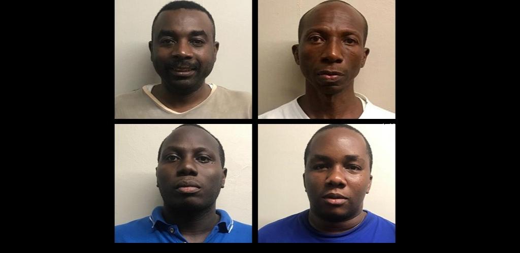 From left to right: Sgt. Preston George, Eldon Asoon, Leon Edwards, Keon Attzs