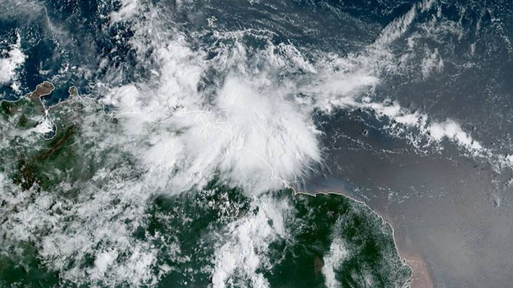Photo: Satellite imagery courtesy the NOAA, shows the position of Tropical Storm Karen around 12.00 pm on Sunday September 22, 2019.