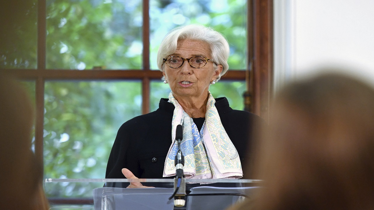 "Christine Lagarde told a news conference in London on Monday that she's a ""desperate optimist"". (Photo: AP)"