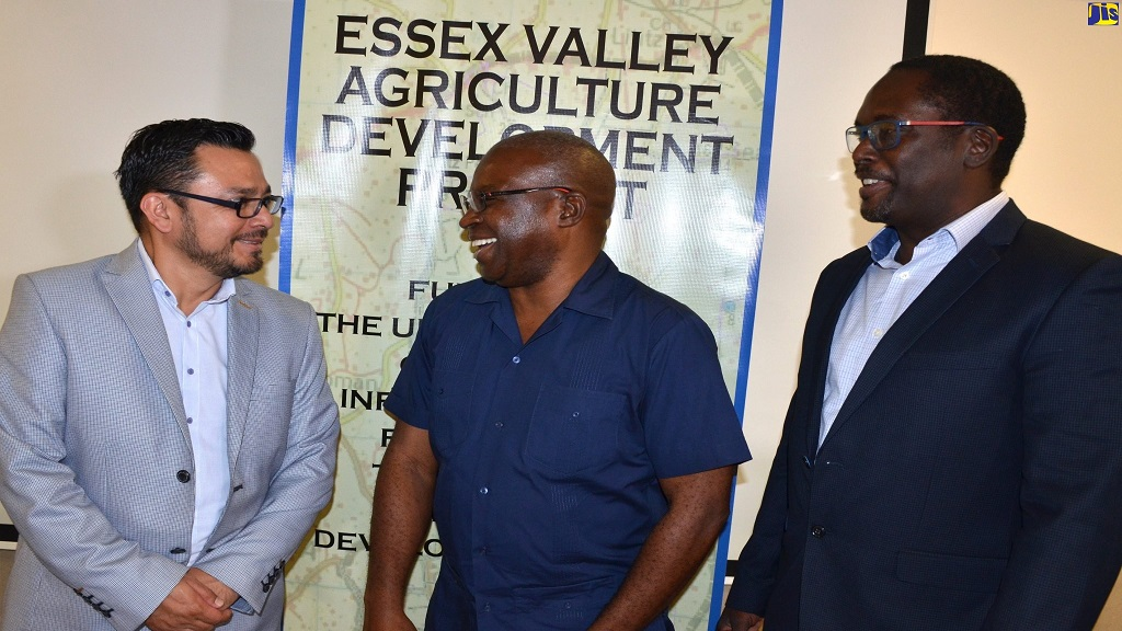 Permanent Secretary in the Ministry of Agriculture, Dermon Spence (centre), converses with Global GAP consultant, Leonardo Ferrer Narvaez (left), at a Global GAP consultancy meeting at the Courtleigh Hotel in New Kingston on Monday. Looking on is Project Manager, Essex Valley Agriculture Development Project (EVADP), Troy Chambers.