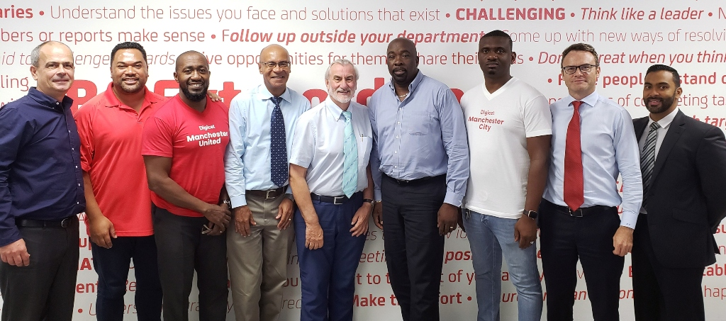 The Digicel team that worked to reach an amicable agreement with the Government of Antigua & Barbuda in regard to the provision of future spectrum arrangements to enhance telephony and Internet services in the country.