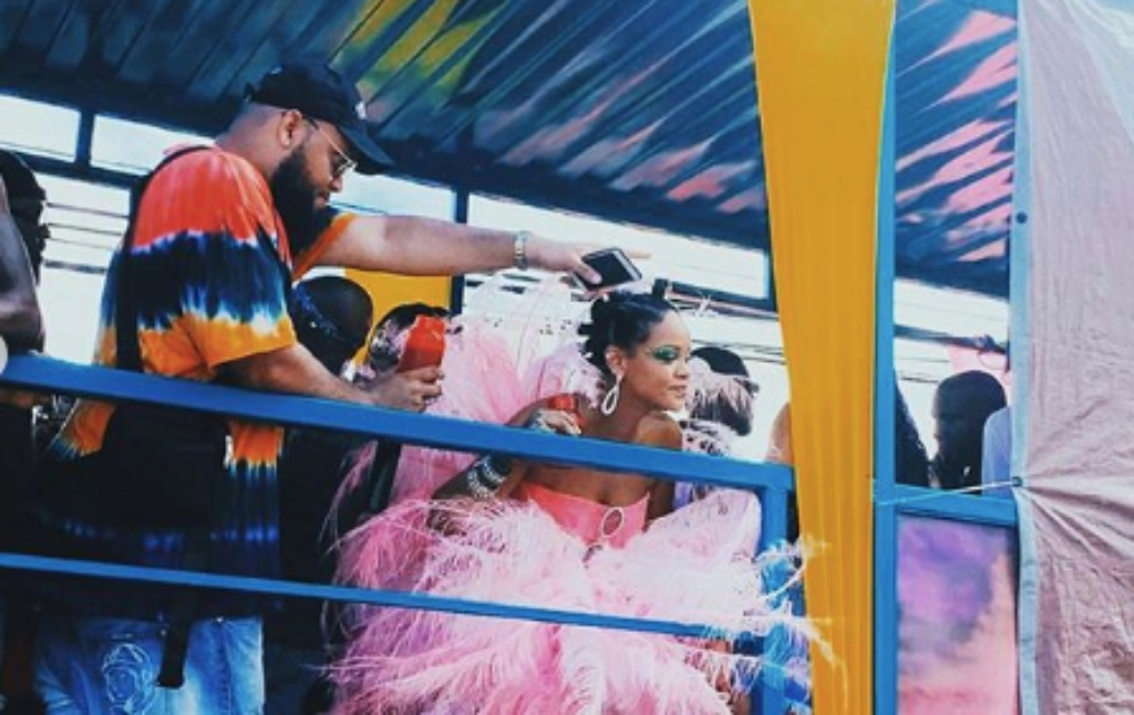 Rorrey Fenty and Robyn 'Rihanna' Fenty on Aura's truck in Barbados for Grand Kadooment. (Source: Gallest IG)