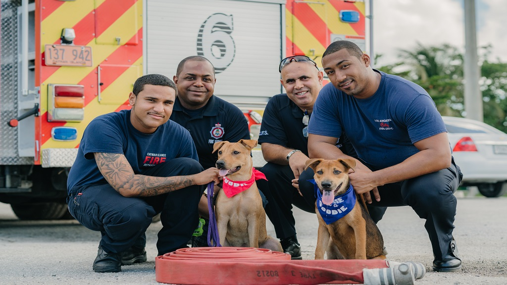 Cayman Islands Fire Service officers (left to right) Fire Officer, Kody Welds, Acting Chief Fire Officer, Brevon Elliott, Divisional Manager, Witney Tatum and Pump Engineer, David Terry.
