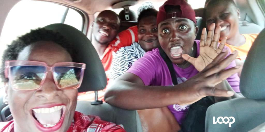 Lady NV in a taxi van in Ghana.