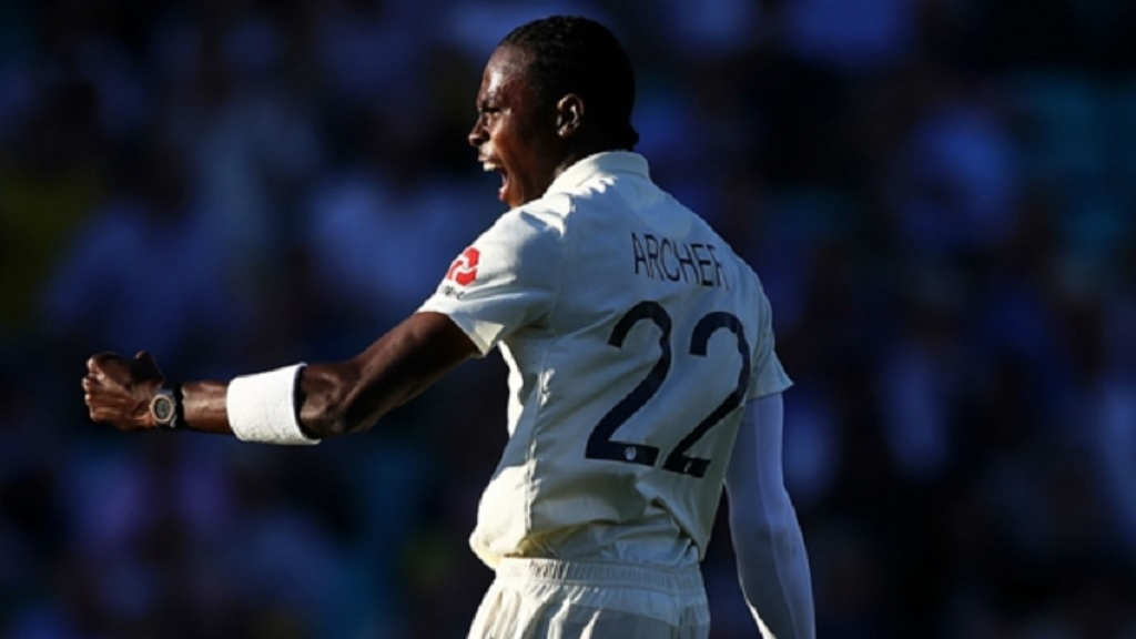 Jofra Archer celebrates a wicket against Australia at The Oval.