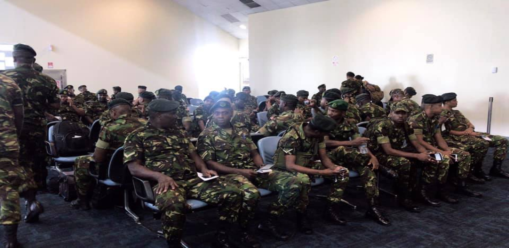 One hundred members of the Trinidad and Tobago Defence Force (TTDF) departed the Piarco International Airport on Sunday for Nassau, Bahamas.