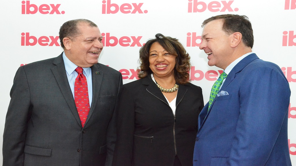 L-R: Audley Shaw, Minister of Industry, Commerce, Agriculture and Fisheries, Diane Edwards, President of JAMPRO, and Bob Dechant, CEO of ibex, share a happy moment before the official launch of ibex's new office in New Kingston.