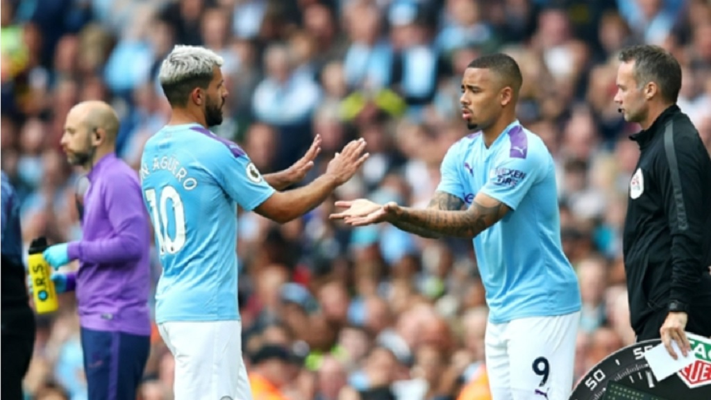 Manchester City strikers Sergio Aguero and Gabriel Jesus.
