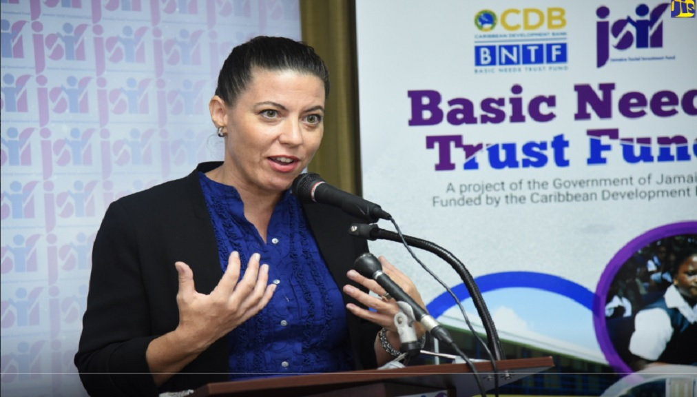 Consultant at the Creative Language-Based Learning (CLBL) Foundation, Mary McDonald, bringing greetings at a contract-signing ceremony involving the entity and Jamaica Social Investment Fund.