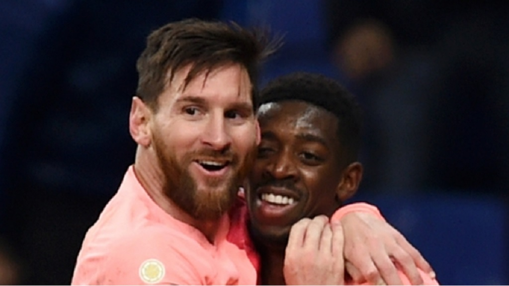 Barcelona stars Lionel Messi and Ousmane Dembele.