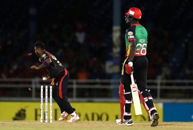 Seekkuge Prasanna runs out Carlos Brathwaite during the St Kitts and Nevis Patriots' 11-run loss to the Trinbago Knight Riders at the Queen's Park Oval