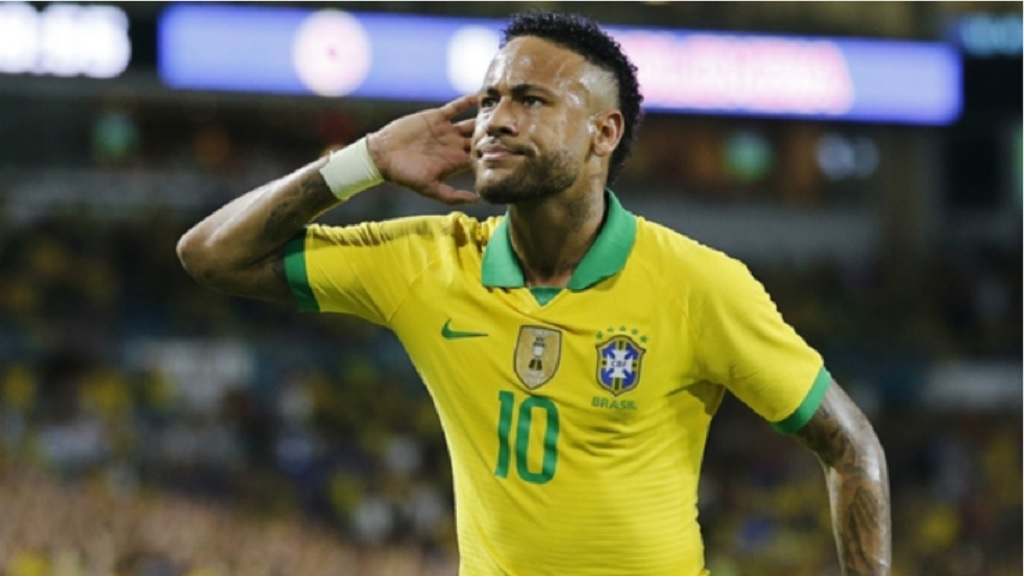 Brazil superstar Neymar celebrates.