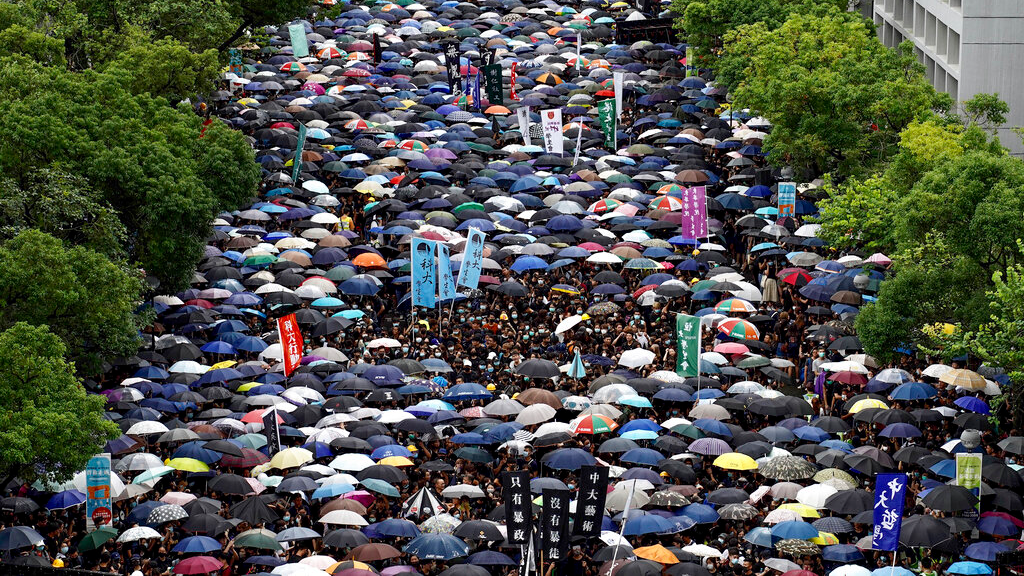 Thousands of students gather during a strike on the first day of school at the Chinese University in Hong Kong, on Monday, Sept. 2, 2019. The nearly three months of youth-dominated protests calling for democracy and an independent inquiry into police conduct will be tested as classes resume after the summer break for many of the youthful protesters in the semiautonomous Chinese territory. (AP Photo/Vincent Yu)
