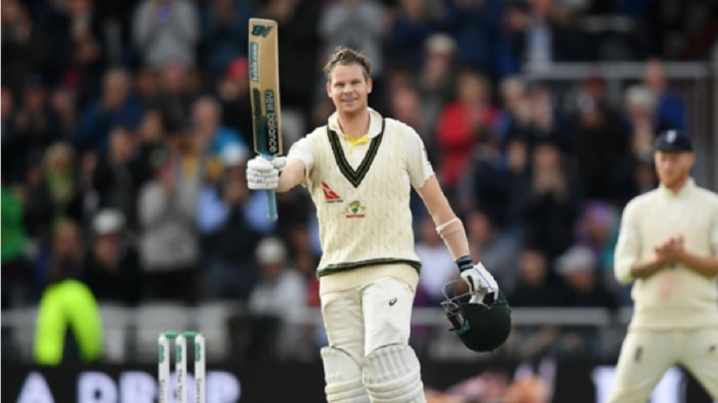 Steve Smith celebrates his double century.