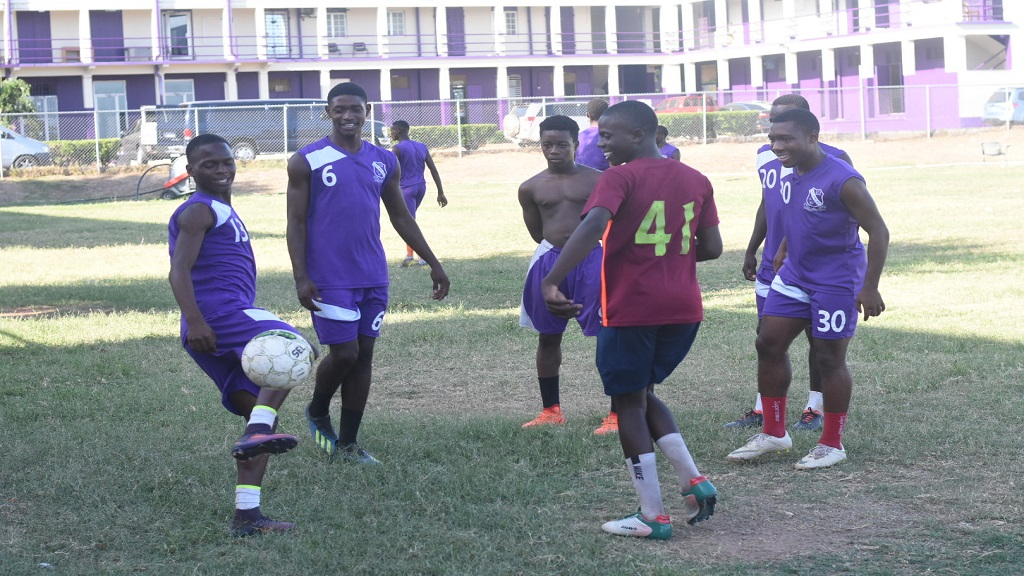 Members of the Kingston College's (KC)  Digicel Manning Cup squad at a recent training session at KC's North Street campus. (PHOTO: Marlon Reid).