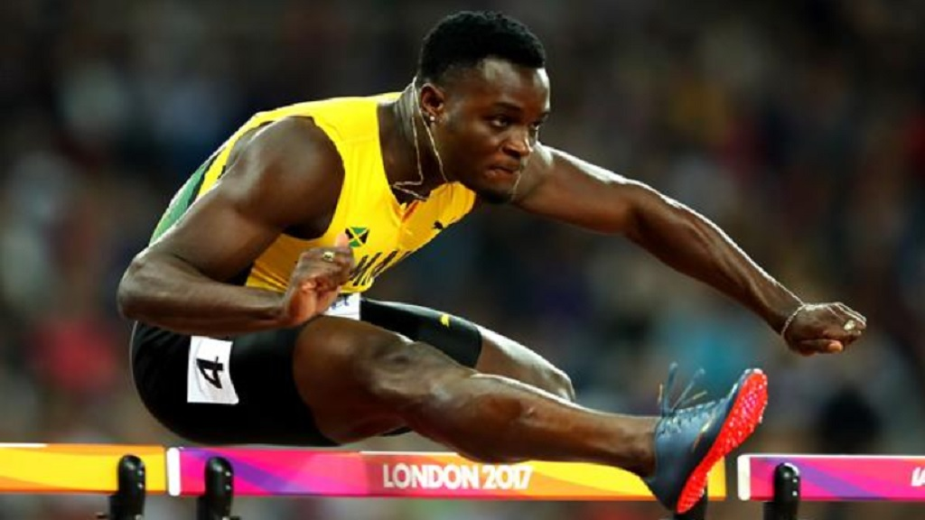 Omar McLeod wins the 110m hurdles at the IAAF World Championships London 2017.