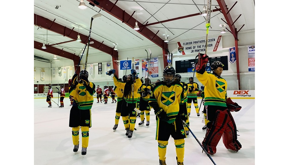 Jamaica's senior men's ice hockey team celebrate after a victory in the Latam Cup over the weekend. (PHOTO: Ice Hockey Jamaica)