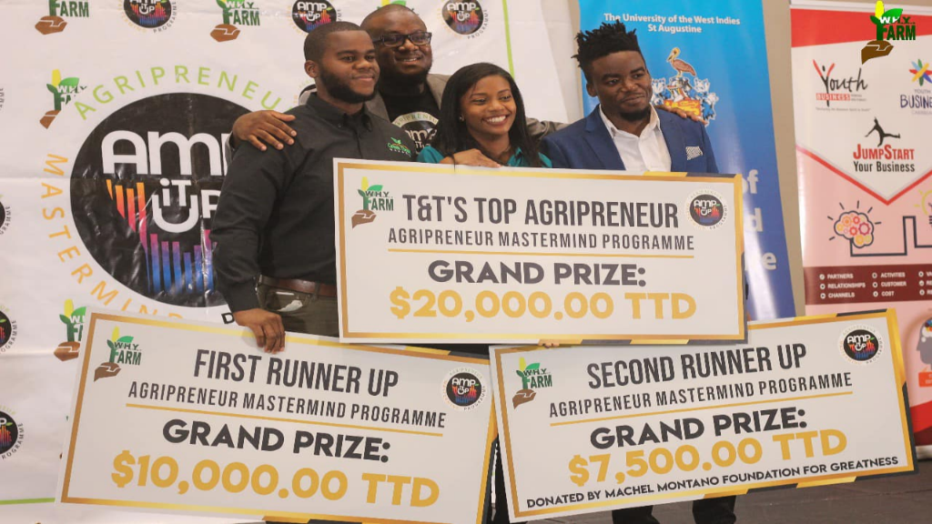 From left to right First runner up Jameel Phillip, owner of Green Thumb Gardens, WHYFARM Executive Director Alpha Sennon, Renee Andrews - Manager and founder at Sorvete-tt Winner of AMPITUP TT, Second runner up Oje Alexander owner of Happy Family Farms. Photo courtesy WHYFARM.