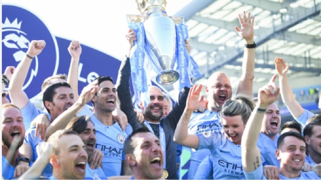 Manchester City  celebrate their English Premier League title last season.