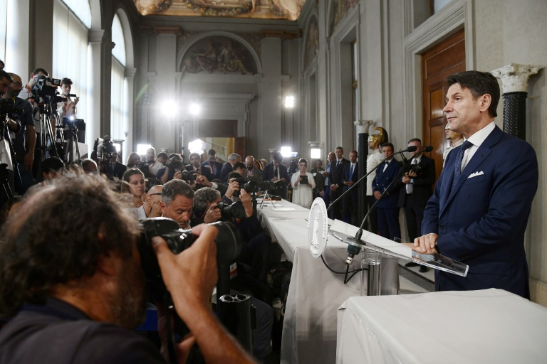 Giuseppe Conte donne la liste des membres de son gouvernement, le 4 septembre 2019 à Rome