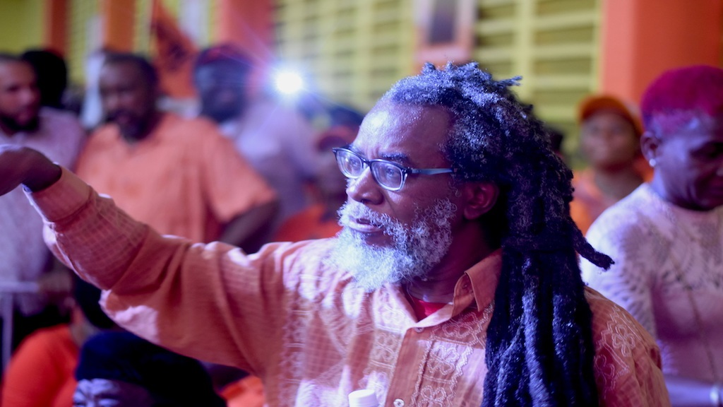 Half Pint acknowledging the audience at the People's National Party (PNP) rally in South West St Andrew on Sunday.