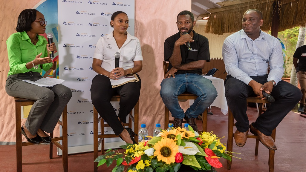 (L-R): Moderator Pauline Francis, Miss Massy Stores 2018, with panelists, Nydia Norville from Choiselle, Ian Mitchell from eMagine Solutions and Henson Hunte from Fun Foods - Island Pops.