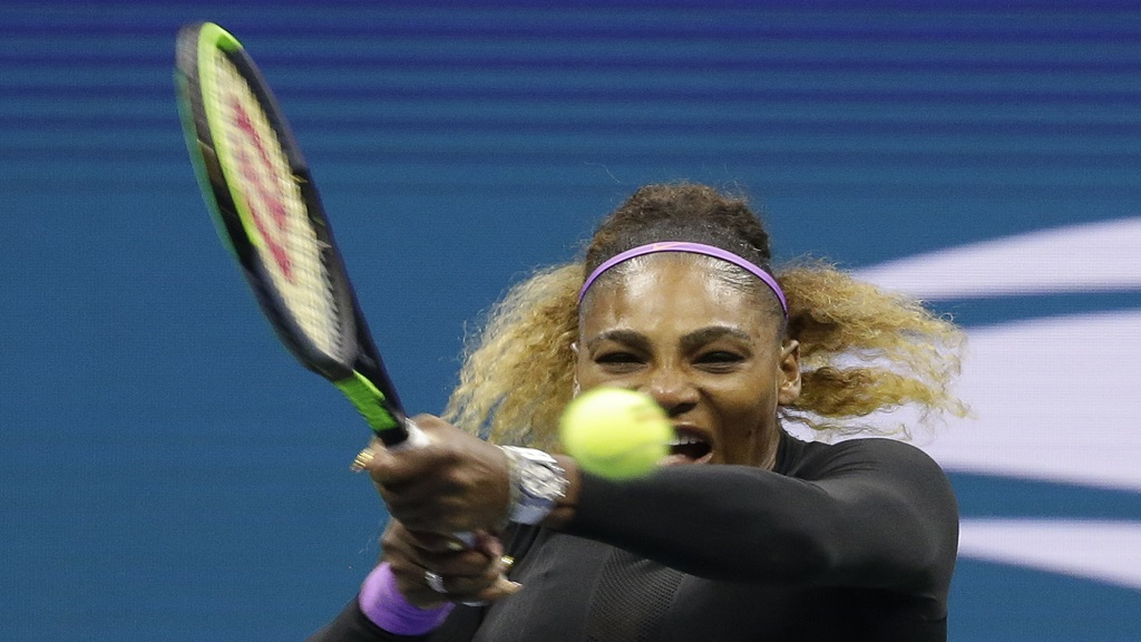 Serena Williams, of the United States, returns a shot to Qiang Wang, of China, during the quarterfinals of the U.S. Open tennis tournament, Tuesday, Sept. 3, 2019, in New York.