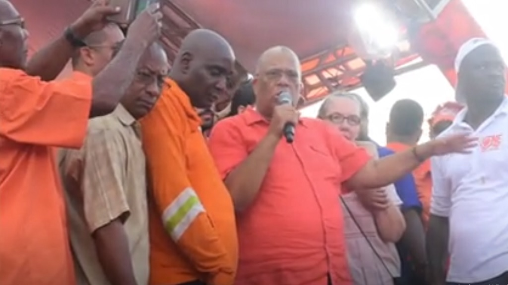 A screen grab from a video of Dr Peter Phillips delivering his victory speech at the National Arena in St Andrew on Saturday.