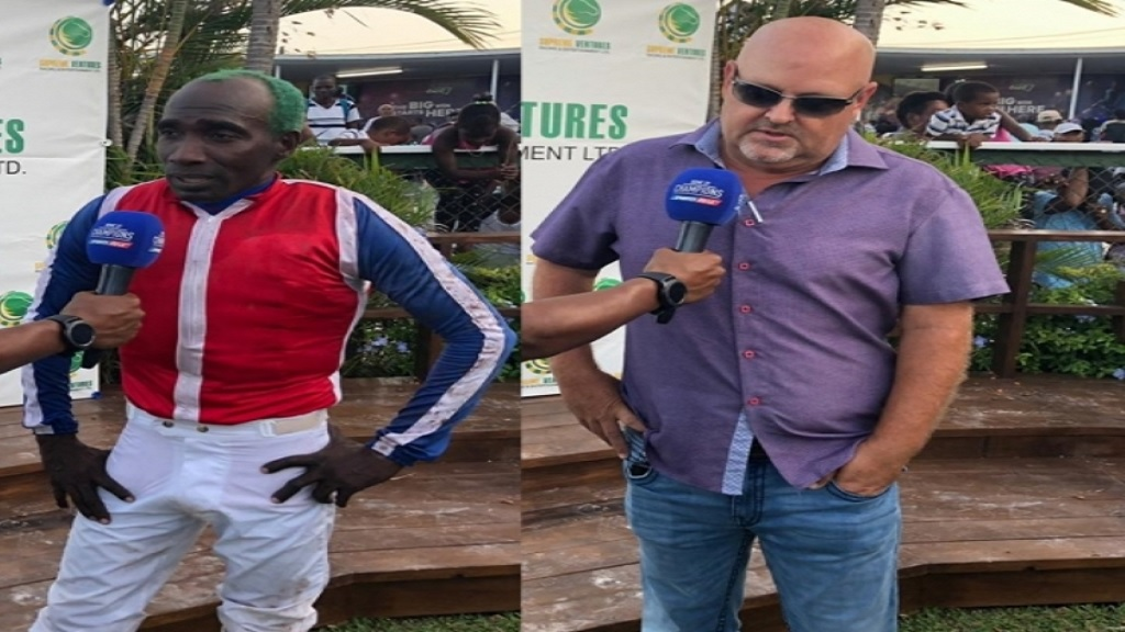 The jockey-trainer combination of Shane Ellis (left) and Anthony Nunes look set to land the Mark My Word Trophy with Triple Crown winner Supreme Soul at Caymanas Park on Saturday, September 21, 2019.