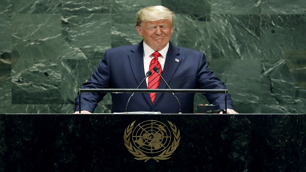 US President Donald Trump addresses the 74th session of the United Nations General Assembly, Tuesday, Sept. 24, 2019. (AP Photo/Richard Drew)