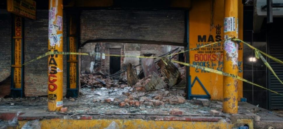 Une boutique saccagée où des corps ont été retrouvés carbonisés, le 4 septembre 2019 dans le township d'Alexandra, à Johannesburg, en Afrique du Sud afp.com - Michele Spatari