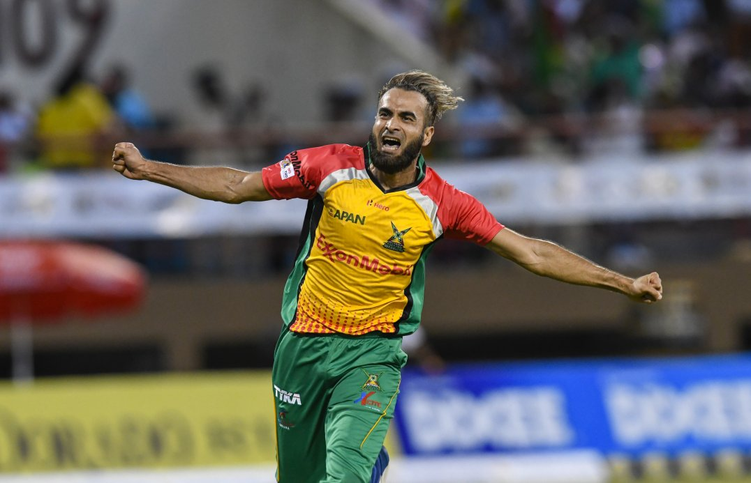 A jubilant Imran Tahir celebrates another wicket for the Guyana Amazon Warriors
