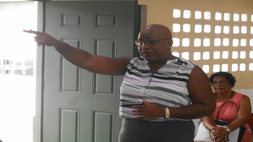 Gale Rigobert addressing parents of students of the Patience Combined School last week