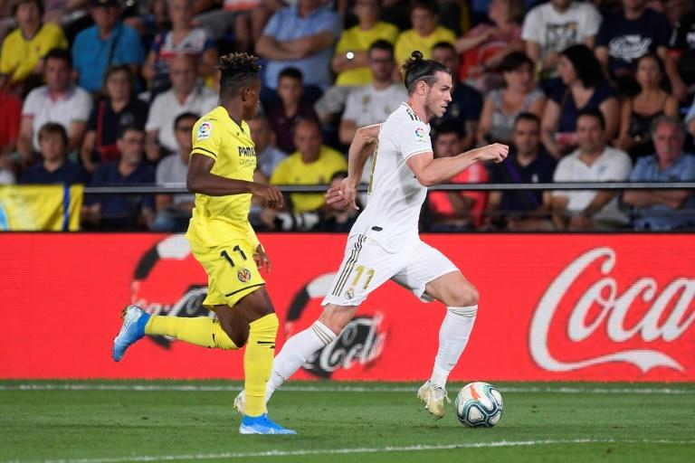 L'attaquant du Real Madrid Gareth Bale (d) buteur lors du match nul 2-2 à Villarreal le 1er septembre 2019