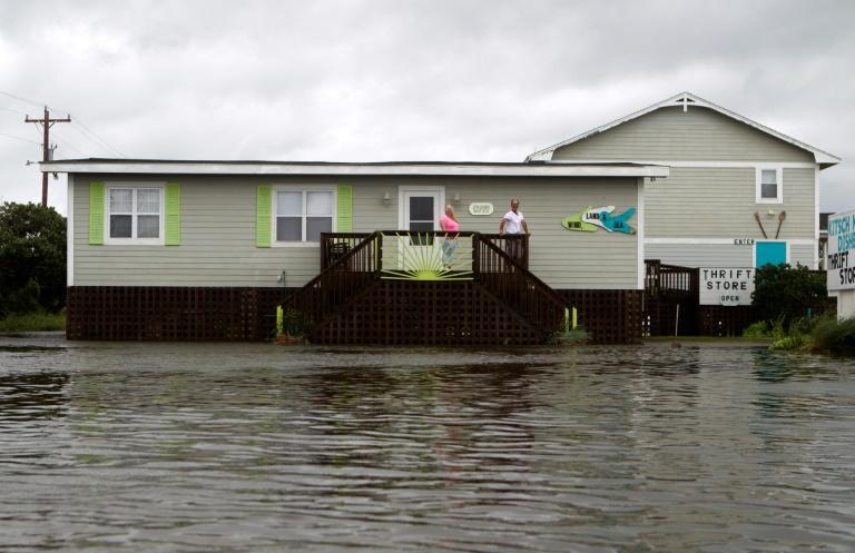 Les rues inondées par l'ouragan Dorian, au Cape Hatteras en Caroline du Nord, le 6 septembre 2019.